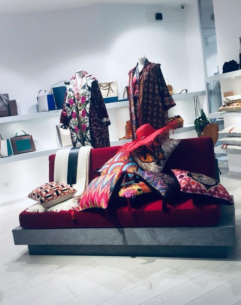 Italian Les Ottomans, Ikat 'Silk Cushion' by Matthew Williamson For Sale