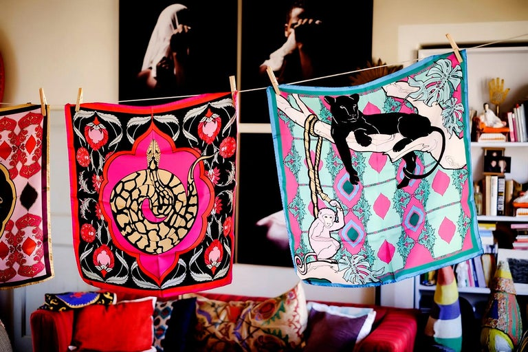 Modern Les Ottomans Panther and Monkey Patterned Silk Turkish Scarves by Alessio Nessi For Sale