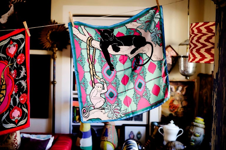 Italian Les Ottomans Panther and Monkey Patterned Silk Turkish Scarves by Alessio Nessi For Sale