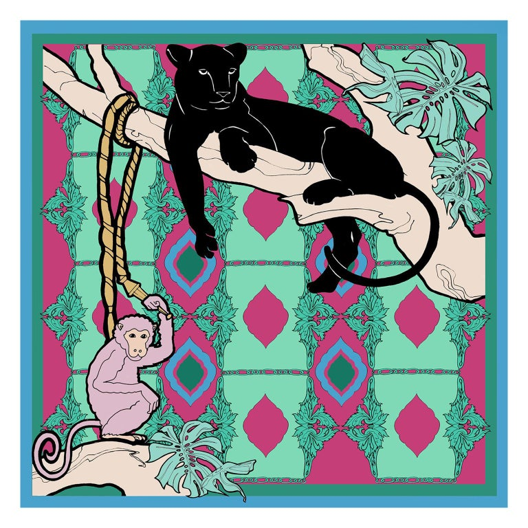 Les Ottomans Panther and Monkey Patterned Silk Turkish Scarves by Alessio Nessi For Sale