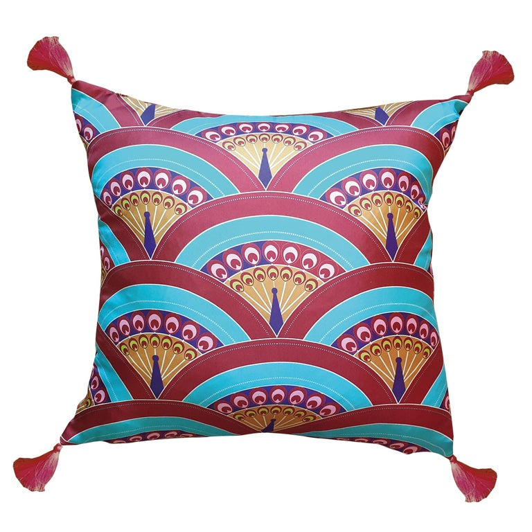 Contemporary Les Ottomans, Peacoch 'Silk Cushion' by Matthew Williamson For Sale