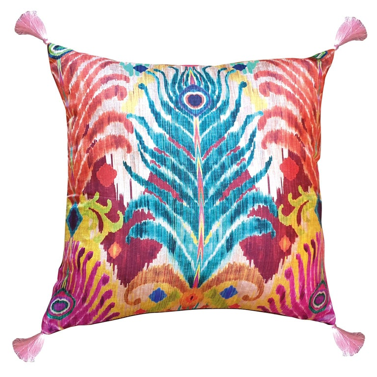 Les Ottomans, Peacock Feather 'Silk Cushion' by Matthew Williamson For Sale