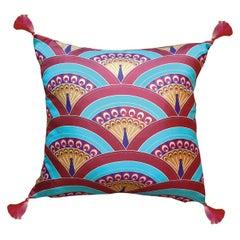 Les Ottomans, Peacock 'Silk Cushion' by Matthew Williamson