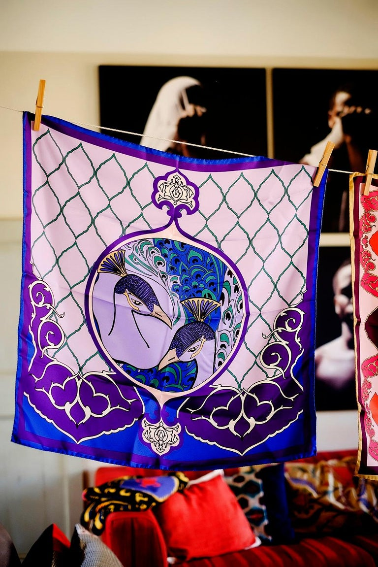 Italian Les Ottomans Purple Peacock Patterned Silk Turkish Scarves by Alessio Nessi For Sale
