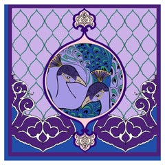 Les Ottomans Purple Peacock Patterned Silk Turkish Scarves by Alessio Nessi