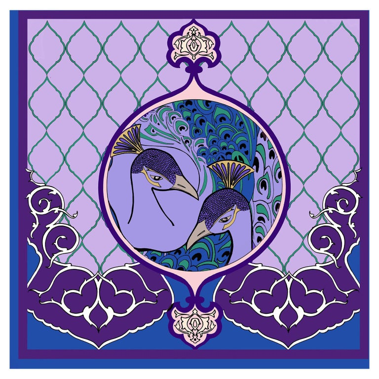 Les Ottomans Purple Peacock Patterned Silk Turkish Scarves by Alessio Nessi For Sale