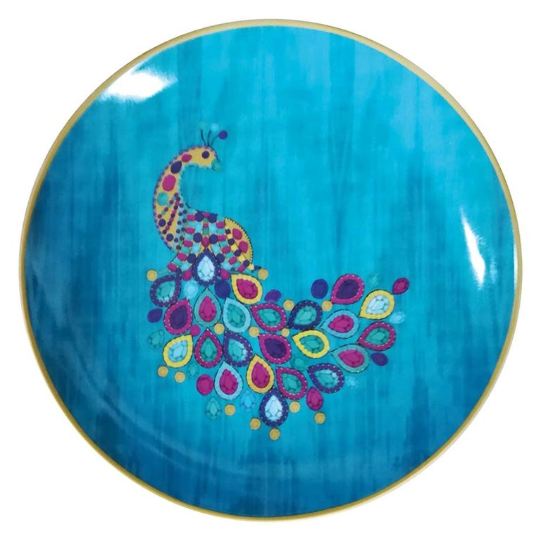 """Les Ottomans """"The Peacock Design"""" Large Porcelain Plate by Matthew Williamson For Sale"""