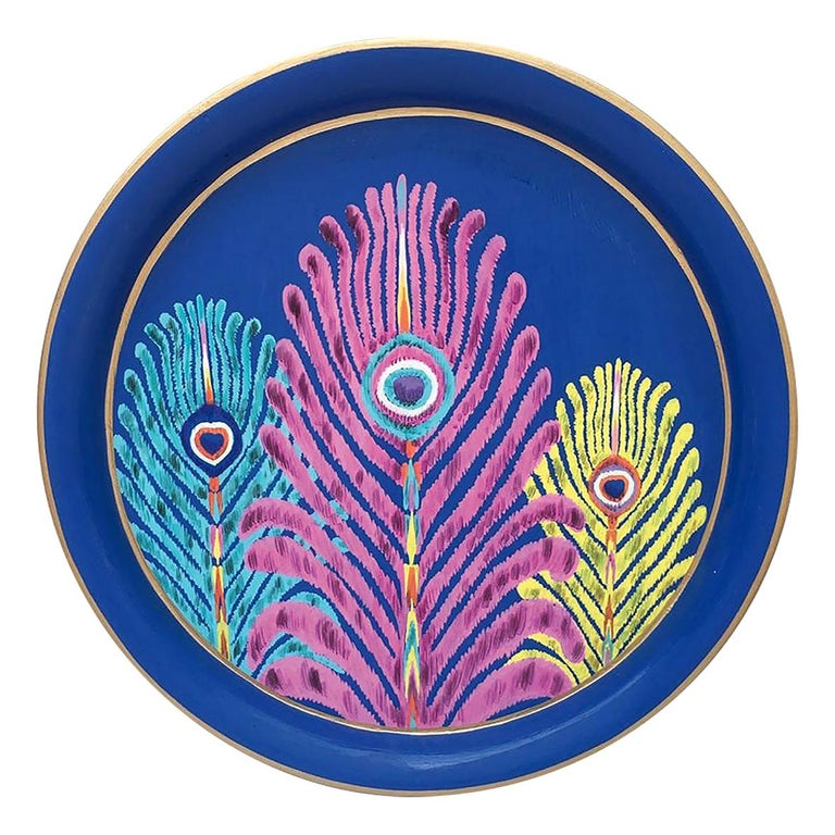 "Les Ottomans ""The Peacock Design"" Round Iron Tray by Matthew Williamson For Sale"
