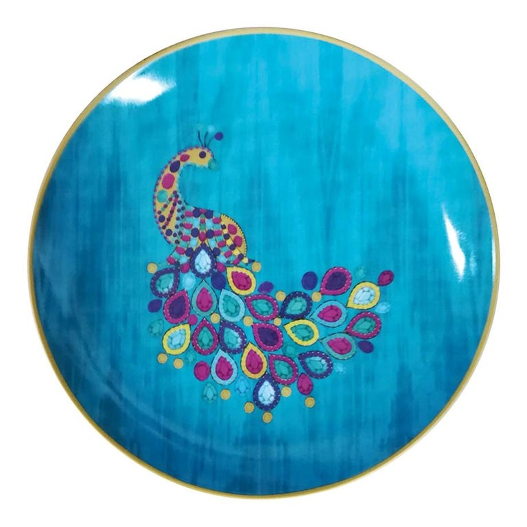 "Les Ottomans ""The Peacock Design"" Small Porcelain Plate by Matthew Williamson For Sale"