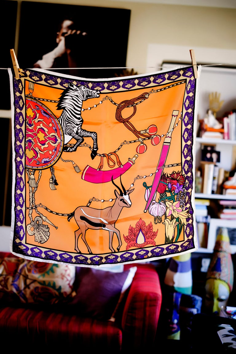 Modern Les Ottomans Zebra & Gazelle Patterned Silk Turkish Scarves by Alessio Nessi For Sale