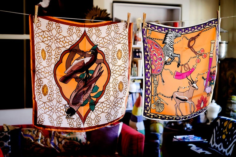 Italian Les Ottomans Zebra & Gazelle Patterned Silk Turkish Scarves by Alessio Nessi For Sale