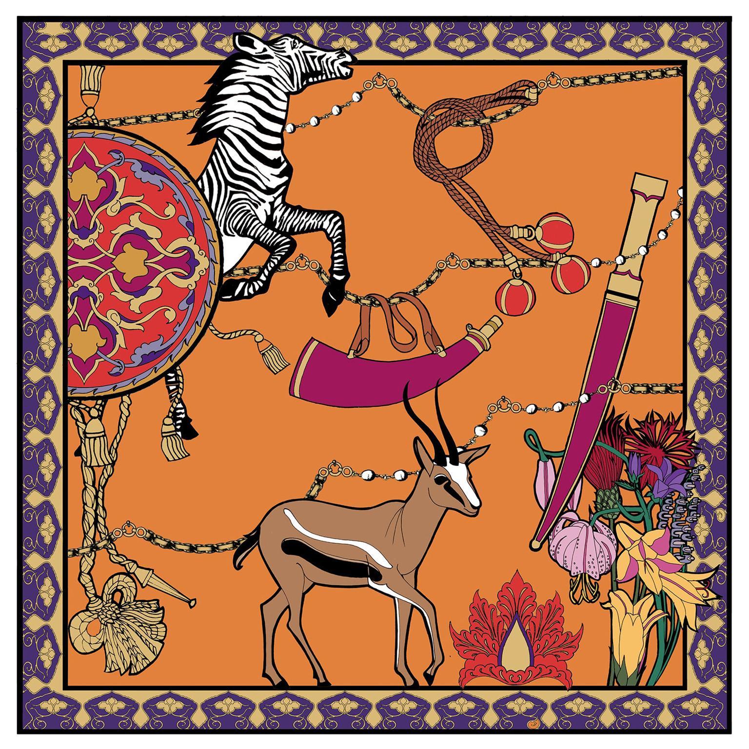 Les Ottomans Zebra & Gazelle Patterned Silk Turkish Scarves by Alessio Nessi