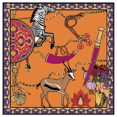 Les Ottomans Zebra & Gazelle Patterned Silk Turkish Scarves by Alessio Nessi