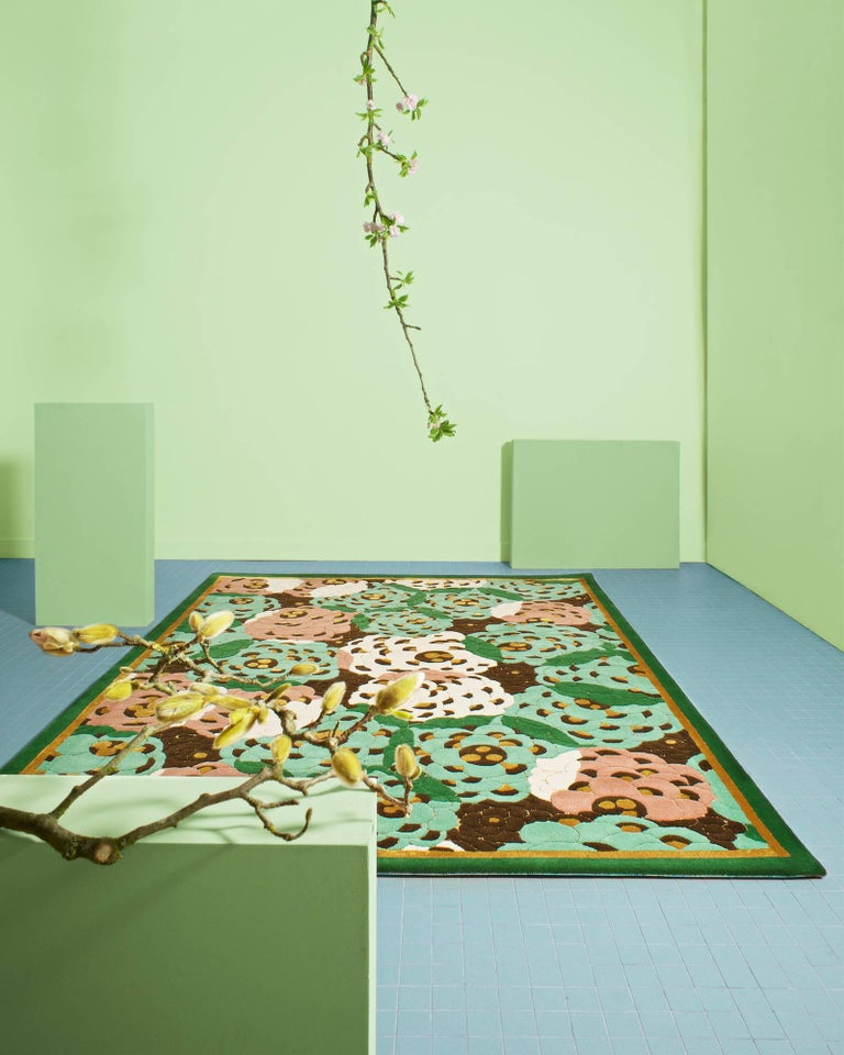 This hand-tufted area rug is made with wool and bamboo and designed by Pinton & Josephine Pinton. Typical of the Aubusson style, our exceptional rugs are a combination of creativity and age-old expertise from the PINTON company. Like the tapestries,