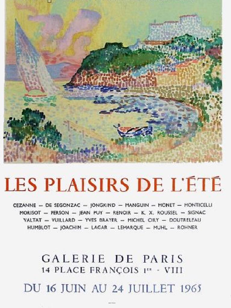 Les plaisirs de l'été, Galerie de Paris 1965 Original Vintage Poster In Good Condition For Sale In Melbourne, Victoria