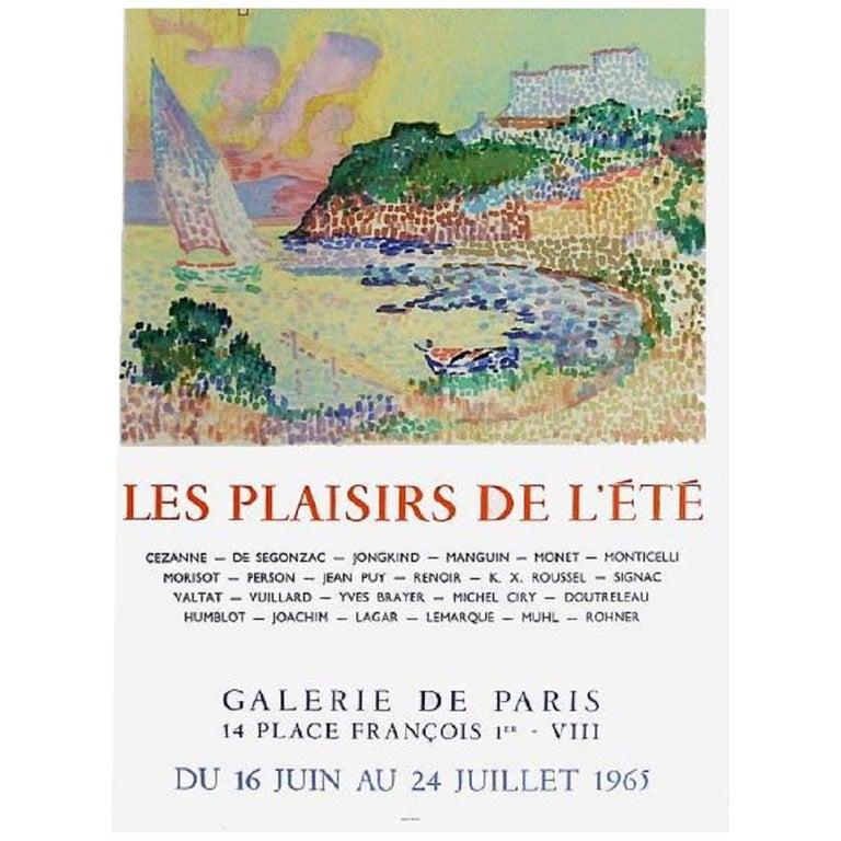 Les plaisirs de l'été, Galerie de Paris 1965 Original Vintage Poster For Sale