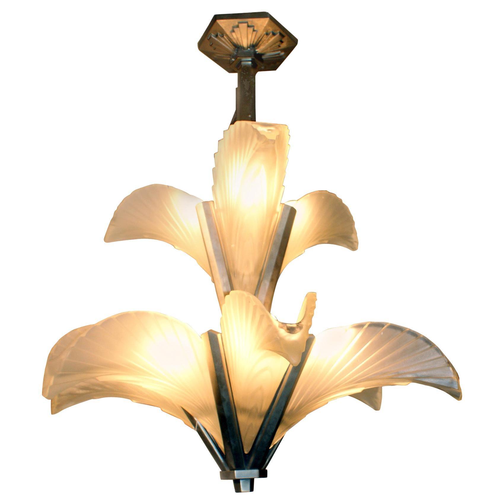 """Les Plumes"" French Art Deco Chandelier"