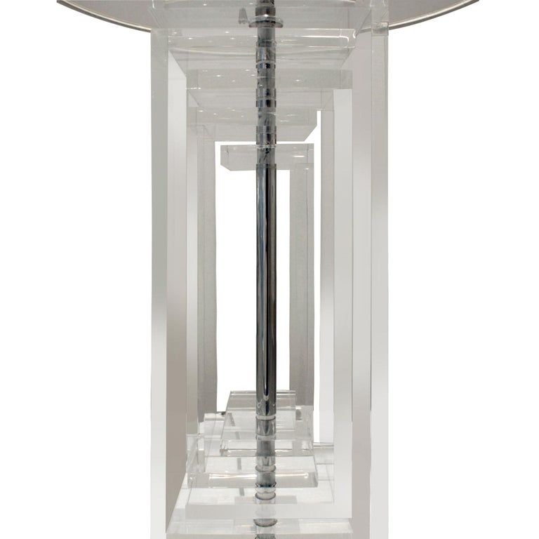 American Les Prismatiques Exceptional Lucite Table Lamp, 1970s For Sale