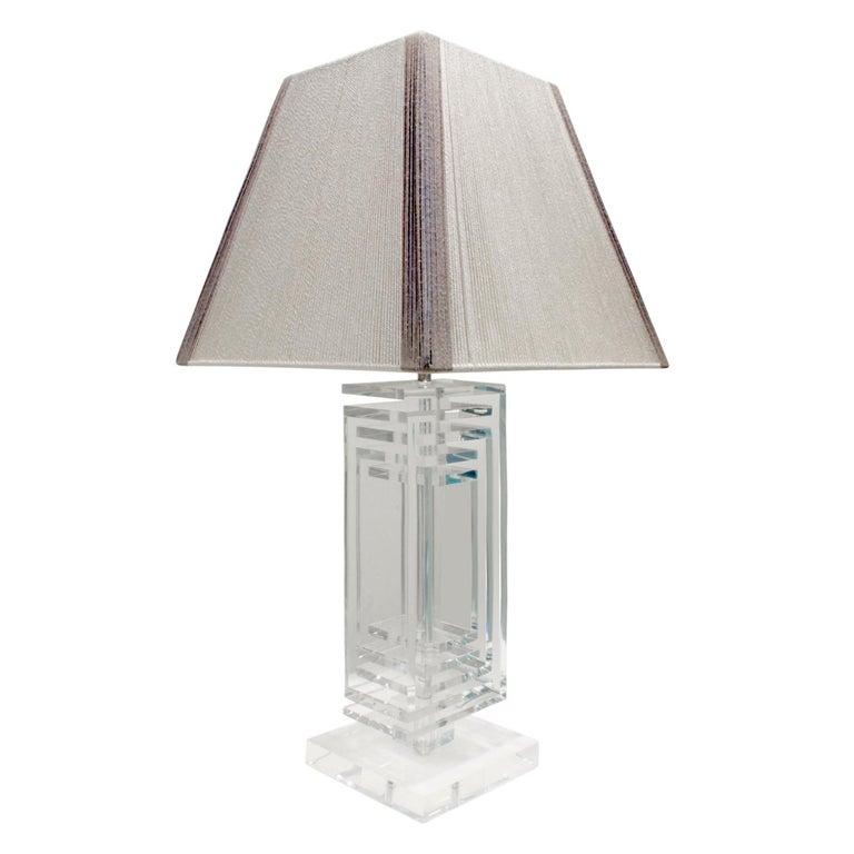 Les Prismatiques Exceptional Lucite Table Lamp, 1970s For Sale