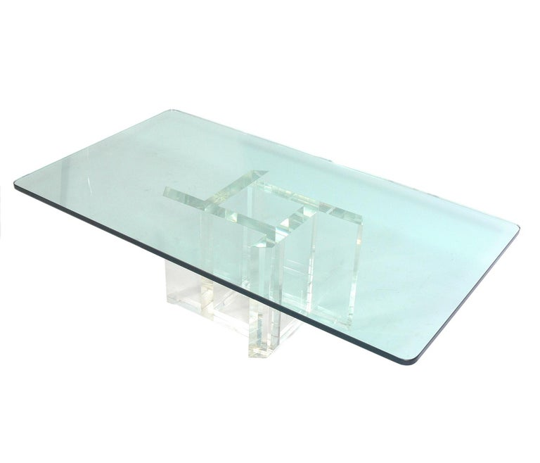 Mid-Century Modern Les Prismatiques Lucite and Glass Coffee Table For Sale
