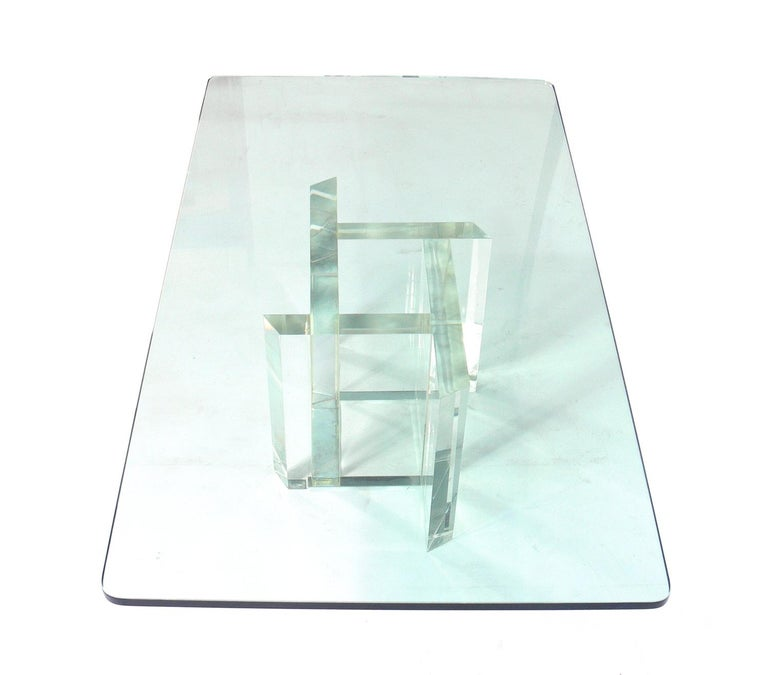 American Les Prismatiques Lucite and Glass Coffee Table For Sale