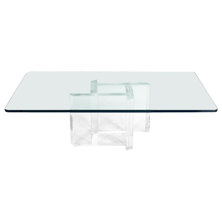 Les Prismatiques Lucite and Glass Coffee Table For Sale