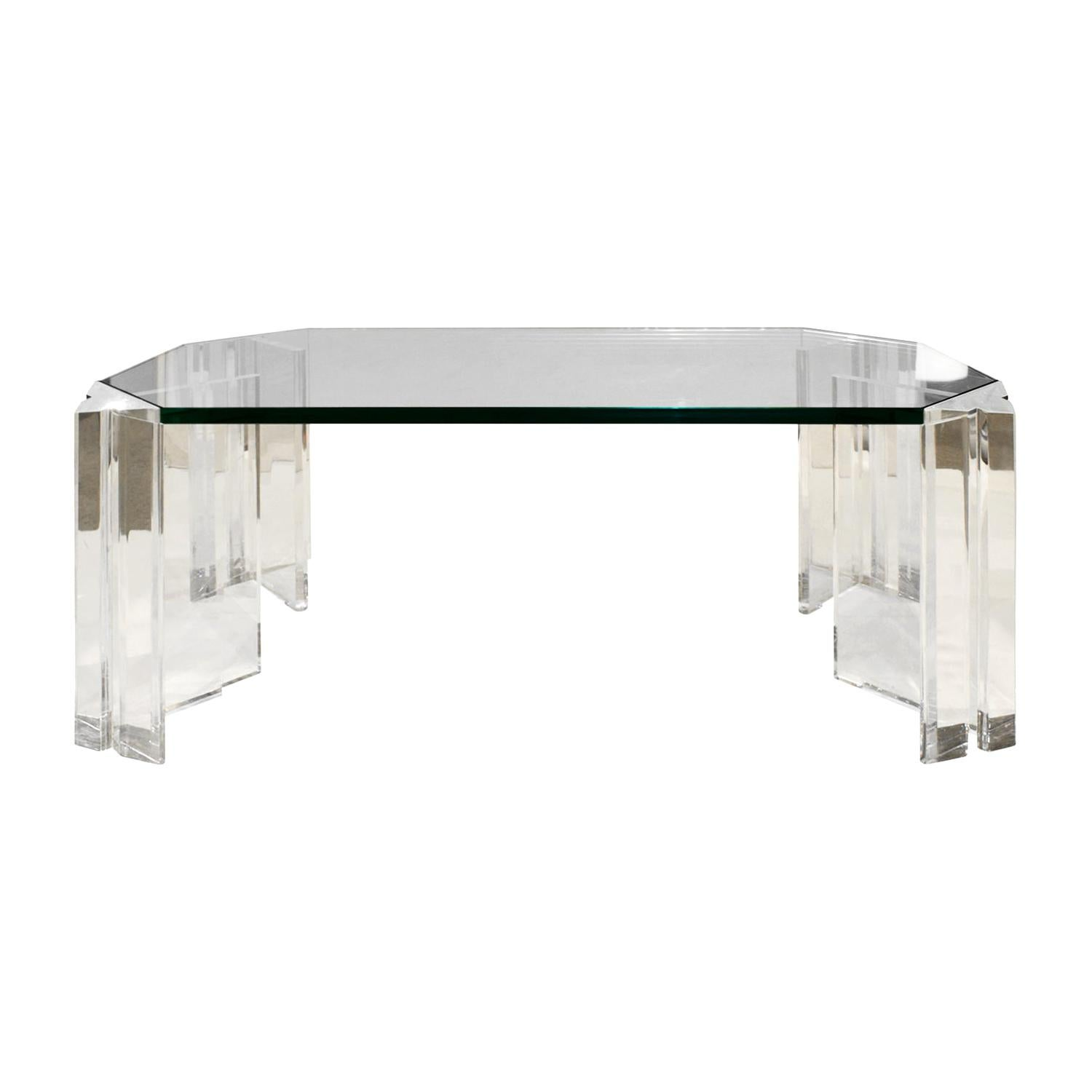 Les Prismatiques Sculptural Coffee Table in Lucite and Glass, 1970s 'Signed'