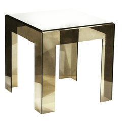 Les Prismatiques Smoke Lucite Side Table, Cube End Table, Mid-Century Modern