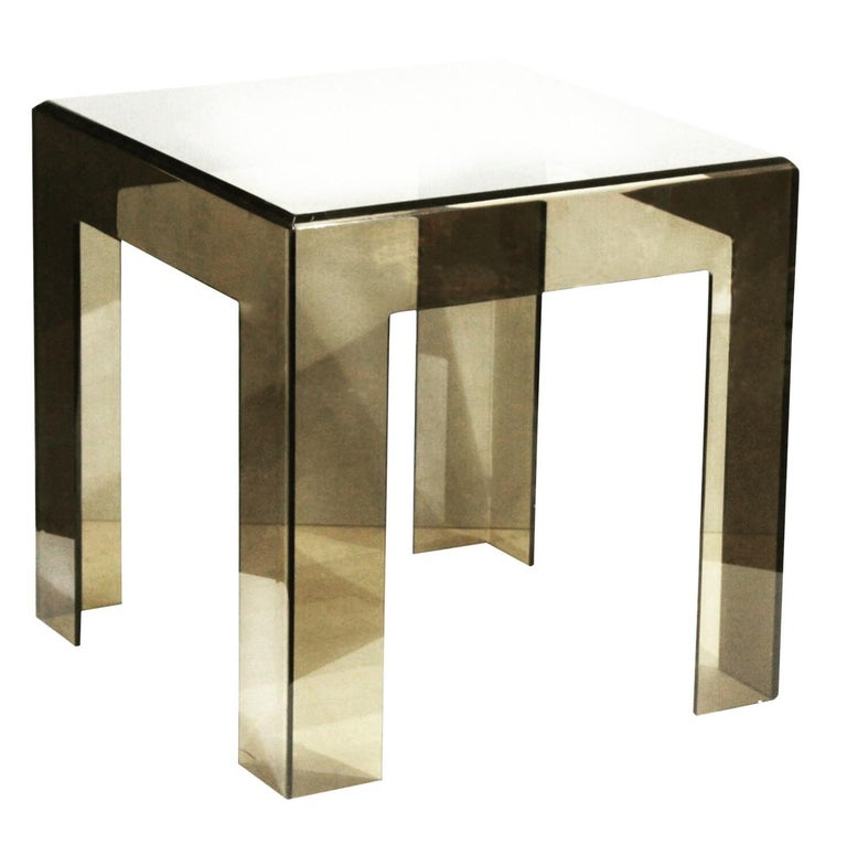 Lucite Coffee Table.Les Prismatiques Smoke Lucite Side Table Cube End Table Mid Century Modern