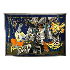 """Les remailleur de filets"" Colorful Tapestry Signed ""Robert Debieve"""
