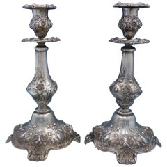 Les Six Fleurs by Reed & Barton Sterling Silver Pair of Candlesticks