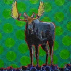 Original oil painting by Les Thomas - Animal Painting 0191673 Moose