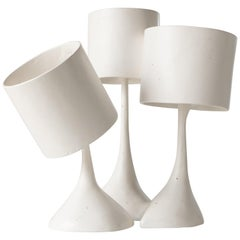 'Les Trois Triste' Hand Carved Polished Gypsum Plaster Table Lamp with Seashells