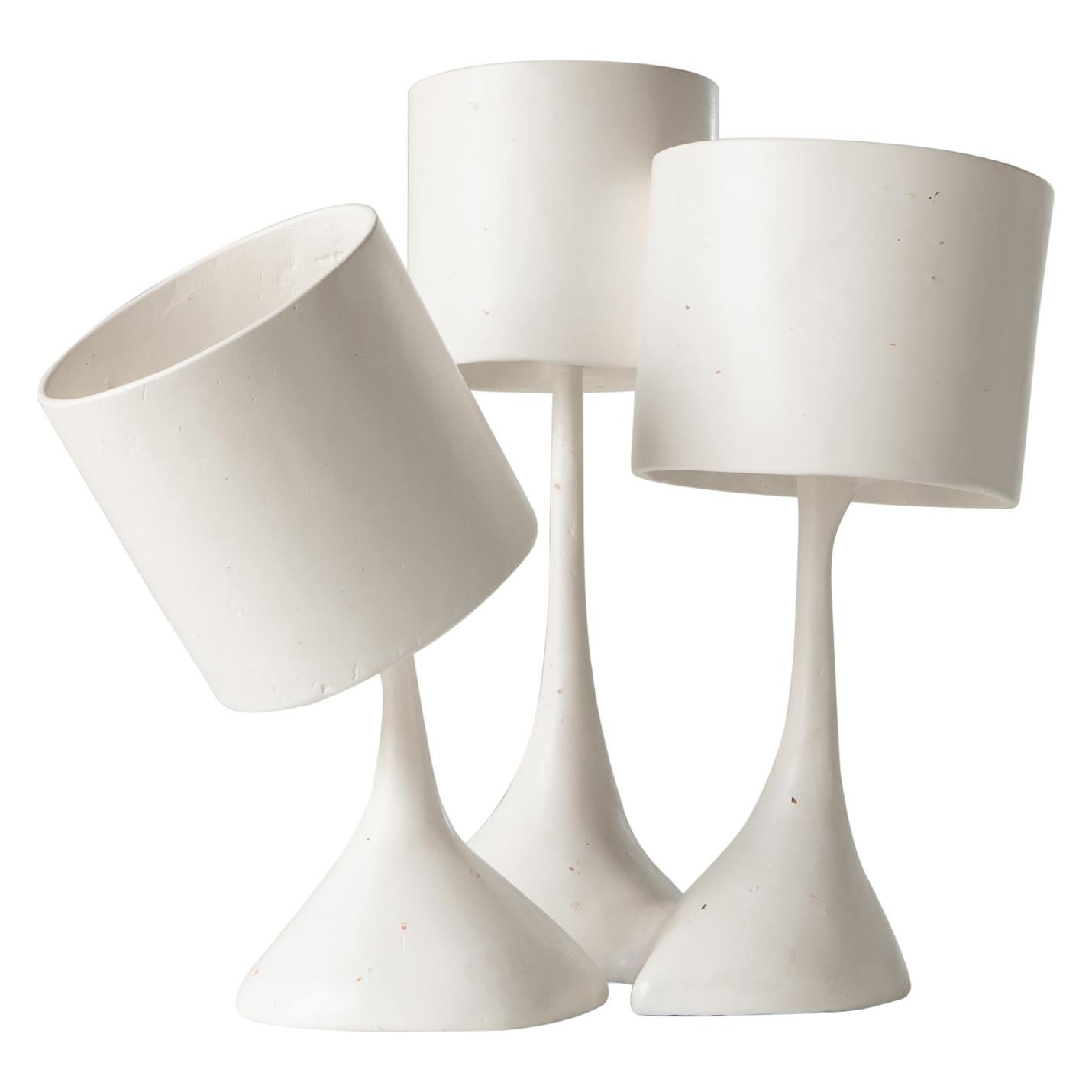 Les Trois Triste Table Lamp in Polished Gypsum Plaster by Reynold Rodriguez