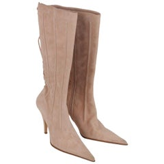 Les Tropeziennes Beige Suede Reverse Lace Up Heeled Boots Shoes IT Size 38