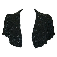 Lesage Art Deco Couture Short Jet Beaded Bolero Jacket