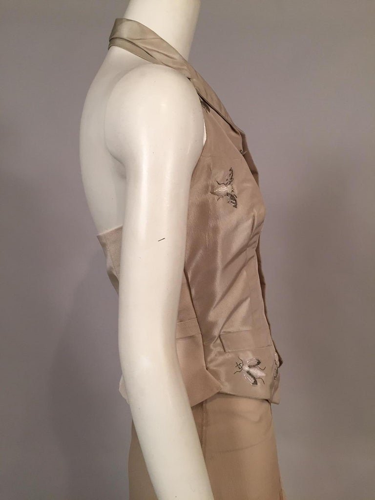 Women's Lesage Beaded Embroidered Silk Vest Bias Cut Silk Skirt by Maggie Norris Couture For Sale