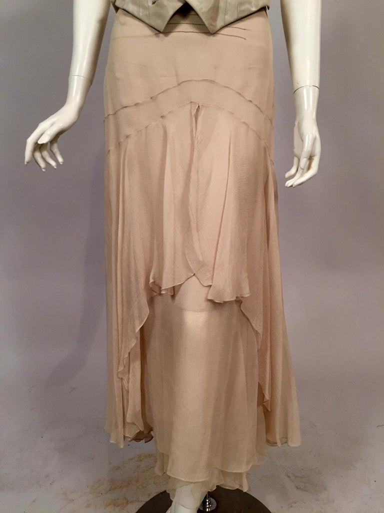 Lesage Beaded Embroidered Silk Vest Bias Cut Silk Skirt by Maggie Norris Couture For Sale 2
