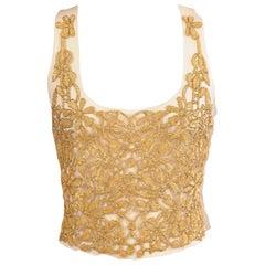 Lesage Paris Tulle Bodice Hand Sewn Gold Beads Soutache Maggie Norris Couture