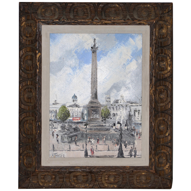 "Leonard Thorpe ""Nelson's Column"" Original Oil Painting, circa 1960"