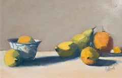 Citrus and Pears by Lesley Powell, Framed Oil on Board Still-Life Painting