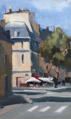 'Corner Cafe' Petite Vertical Post-Impressionist Parisian Painting