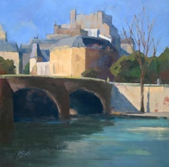 Crossing the Right Bank by Lesley Powell, Square Oil on Canvas Parisian Scene