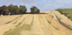 Fresh Mown Fields by Lesley Powell Oil on Linen Wrapped Board Landscape Painting