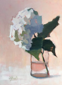 Hydrangea, Blushing by Lesley Powell, Small Post-Impressionist Floral Painting