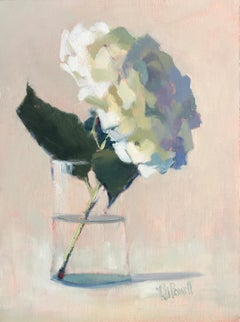 Hydrangea, Looking Forward by Lesley Powell, Small Post-Impressionist Painting