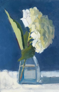 Hydrangea on Tiptoe by Lesley Powell, Small Oil on Board Still-Life Painting
