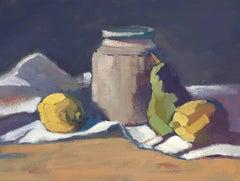 Jug, Lemons, Pear by Lesley Powell, Fruit Still Life Small