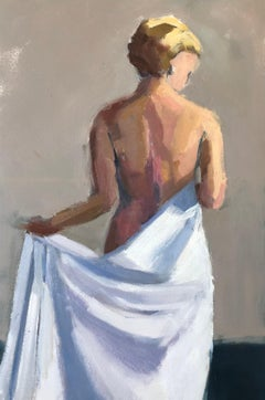 Looking Right by Lesley Powell, Framed Vertical Nude Painting