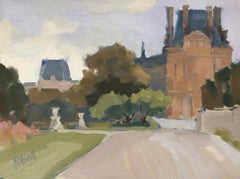 Louvre, from the Tuileries Lesley Powell Framed Oil on Linen Landscape Painting